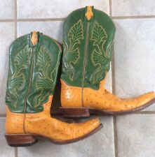 Western Mens Size 10 Leather Ostrich Cowboy Boot Hand Made Green Orange