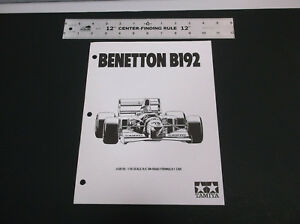 VINTAGE 90's TAMIYA BENETTON B192 1:10  R/C PARTS LIST & LINE DRAWING *G-COND*