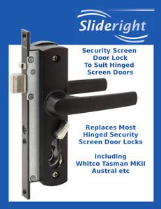 Security Screen Hinged Door Lock Whitco Tasman MK2 Equivalent Black no Cylinder