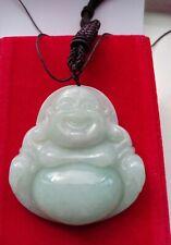 Certified Natural Grade A jadeite Jade Necklace Pendant Happy  Buddha Design