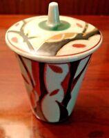Vintage Chinese Art Pottery Lidded Tea Cup Hand Painted Tea Bowl Signed GoldGilt