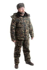 Army Jacket + pants. Military winter suit on a sheepskin