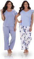 Ladies Plus Size Floral Print Lace Curve PJ Set Short Sleeve Pyjamas