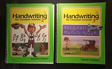 BJU lot Handwriting for Christian Schools 2 and 3 Teacher's Editions