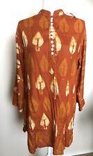 NWT Womens Kurta Kurti Orange Leaf Cotton India Casual Sz XL Long Sleeves