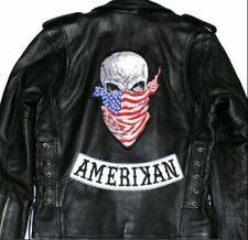 Skull American Flag Bandana + Amerikan Bottom Rocker Motorcycle Back Patch 2 pc