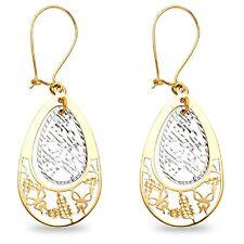 Butterfly Teardrop Dangle Earrings Solid 14k Yellow White Gold Fancy Fashion