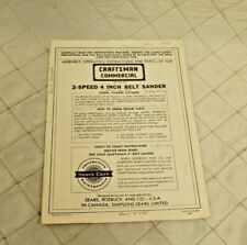 Craftsman Commercial 2-Speed 4 Inch Belt Sander 315 22620 Instructions Vintage