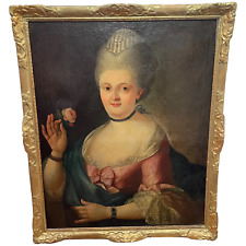 Fine 18th Century Oil Painting Portrait Lady In Pink Silk Dress Holding A Rose