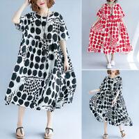ZANZEA 10-24 Women Polka Dot Printed Flare Long Maxi Dress Sundress Kaftan Abaya