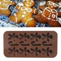Xmas Silicone Mold Gingerbread Man Fondant Cake Chocolate Sugarcraft DIY Decor