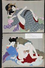 Shunga Erotica, 12 Original Japanese Meiji Period, Paintings On Silk,Antique.