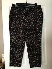 "OLD NAVY ""HARPER"" BLACK/BEIGE/LEOPARD PRINT CAPRI DRESS PANTS!!  SIZE 10"