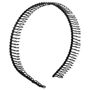 Mens Womens Metal Football Running Headband Hairband Black Flexi Teeth Comb -s7