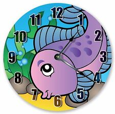 "10.5"" CUTE PURPLE FISH NURSERY KIDS CLOCK - Large 10.5"" Wall Clock - 3325"