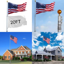 20ft Aluminum Flag Pole Free 3'x5' Us Flag Ball Top Fly 2 Flags Gold Ball Top