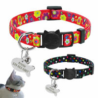 Puppy Pet Dog Kitten Cat Breakaway Collar & Tag Engraved Safety Quick Release