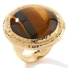 "Rarities Carol Brodie Round Cabochon Gemstone ""Bold"" Vermeil Tigers Eye Ring"