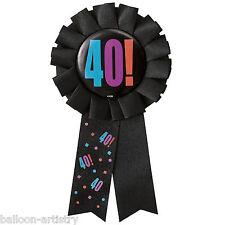 Alegre Globos Negro Feliz 40º Fiesta De Cumpleaños Premio Cinta Roseta Insignia