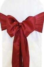 "250 Burgundy Satin Chair Cover Sash Bows 6"" x 108"" Banquet Wedding Made in USA"