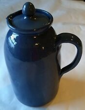 "Large 8"" Bybee Kentucky Pottery Pitcher~Blue~Vintage~WITH LID"