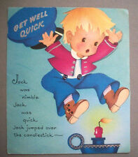 Get Well Jack be Nimble Jack be quick vintage greeting card *F2