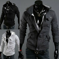 Men's Fleece Zip Up Hooded Hoodies Sweatshirt Slim Fit Sweater Coat Tops Outwear