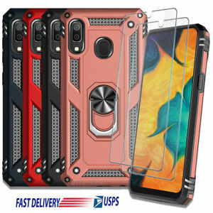 For Samsung Galaxy A20 A30 A50 Case Shockproof Ring Stand Cover + Tempered Glass