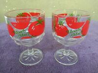 "Bloody Mary Drinking Glass Goblet Tomato Vintage MCM Retro 16 oz 6"" Set of 2"