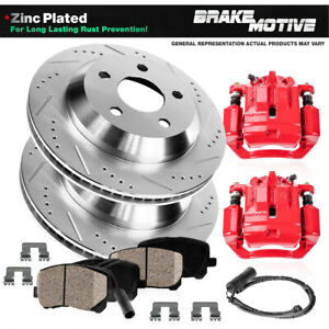 Rear Brake Rotors and Calipers + Ceramic Pads For 2004 - 2008 2009 2010 BMW X3