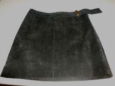 WORTH Genuine Soft Suede MINI Charcoal Skirt sz 8