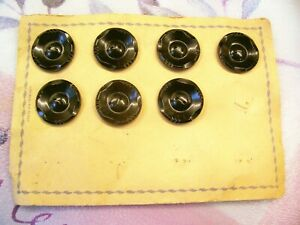 Card of 7 French black Art Deco buttons 28 mm. diameter.