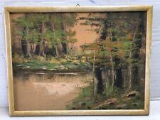 Quadro Antico Olio su Pannello Dipinto PAESAGGIO Lagunare 30x40 NO FIRMA cornice