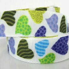 "10yards 5/8"" Printed Heart ribbon grosgrain ribbons for craft scrapbooking 15mm"
