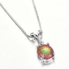 Fashion Silver Ellipse Amber Artificial Opal Pendant Necklace Wedding Jewelry