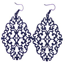 Large and elegant black cut out filigree pattern hook earrings