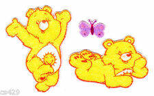 "2.5"" CARE BEARS FUNSHINE  BEAR  CHARACTER FABRIC APPLIQUE IRON ON  SET IRON ON"