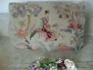 ANTIQUE ORIGINAL WELL WORKED FRENCH TAPESTRY WITH PETIT POINT LADY AND DOG.