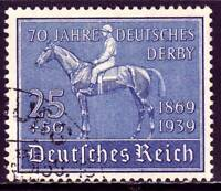 THIRD REICH Mi. #698 scarce used Blaues Band Horse Race stamp! CV $24.00