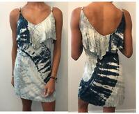 Gypsy 05 Women Sz S Sexy Stretch Mini Dress Tie Dye Navy Blue White Size Small