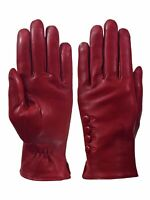 Giromy Samoni Womens Warm Winter Plush Lined Leather Driving Gloves - Red