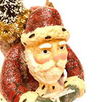 Dept. 56 Santa Claus Checking His List With Basket Of Toys Tree Glitter