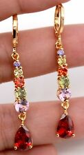 18K Gold Filled - 1.4'' Amethyst Ruby Peridot Quartz Citrine Teardrop Earrings