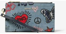 MK MICHAEL KORS Adele Wallet Smartphone Embroidered Denim Pouch Handbag Blue New