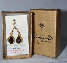 NIB Dogeared Teardrop Gold Dipped Onyx Healing Gem Earrings