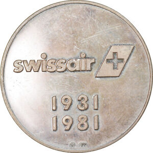 [#6349] Switzerland, Medal, Cinquantenaire de Swissair, Aviation, 1981
