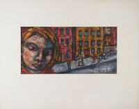 Cityscape with face unique outsider modernist vintage painting by Lewis J Miller