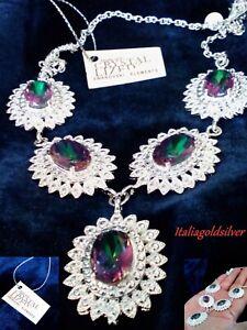 Collana Donna SWAROVSKI ORIGINALI Argento 925 Gioielli Cristalli Sposa diamanti
