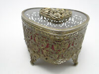 Old Heart Shape Jewelry Casket Box Crystal w Filigree Gilded Metal Flower Top