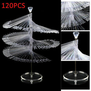 120Pcs Clear False Nail Art Polish Spiral Fan Shape Display Stand Practice